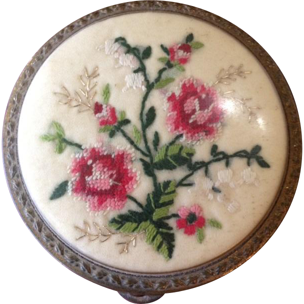 SALE: Needlepoint Powder Compact c1950