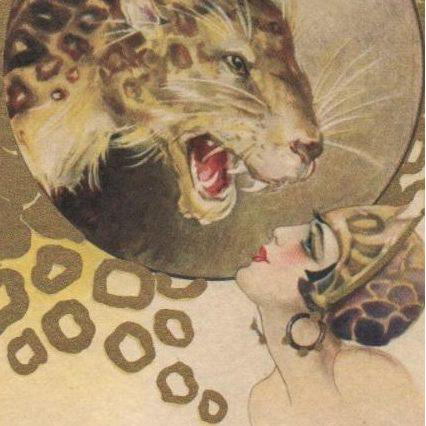 Art Deco Chiostri Signed 'Woman with Leopard' Postcard c1920
