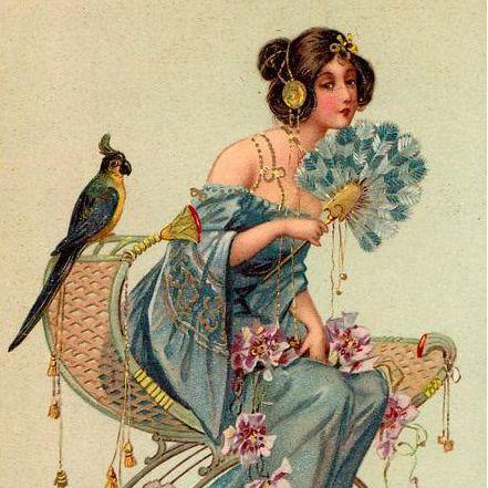 'Woman with Parrot and Fan' Hingre Art Nouveau Postcard