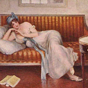 Salon de Paris Artist Postcard 'Le Roman-Reverie' c1914.
