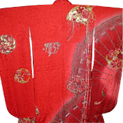 Super Special Price until May 31..Vintage Red Silk Furisode Kimono with Fans, Flower Balls, Tassels and  Gold Glaze Highlights. Signed Yamamoto c1980.