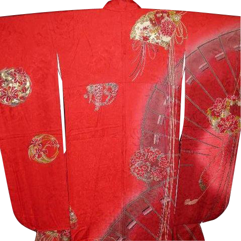 Signed Yamamoto Vintage Red Silk Furisode Kimono with Fans, Flower Balls, Tassels and  Gold Glaze Highlights. c1980.