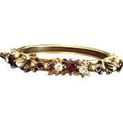 Natural Garnet Hearts and Rose Cut Clear Paste Gold-washed Edwardian 'Sweetheart' Clamper Bangle Bracelet