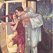 Art Deco Signed Pierrot and Pierrette Postcard New Year's Eve 1917