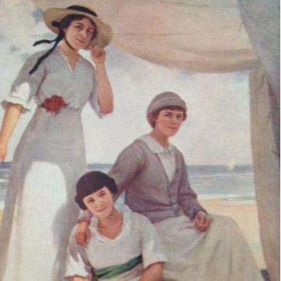 'The Three Sisters' Signed French Art Luxochromie Postcard c1911.