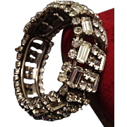 Huge A/D Rhinestone Ear Rings and Hinged Clamper Bangle. c1930's