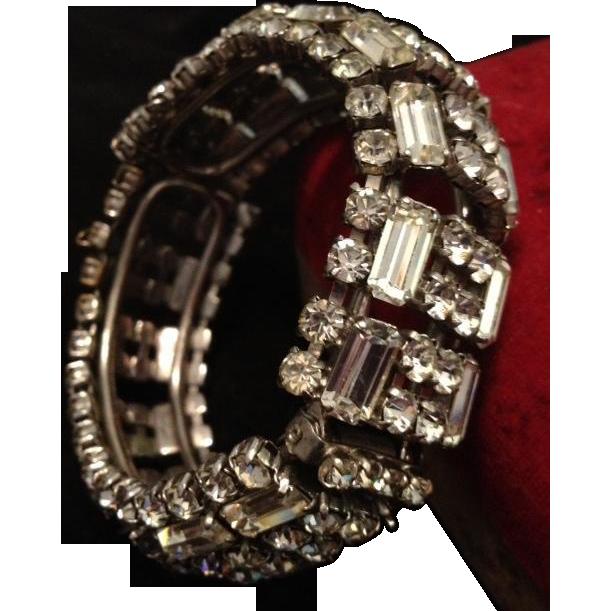 Huge A/D Rhinestone Ear Rings and Hinged Clamper Bangle. c1930's