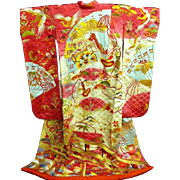Hot Pink and  Cream + Bold Multi-color Japanese silk Wedding Uchikake Kimono with Gold Embroidery~Truly Amazing. c1970.
