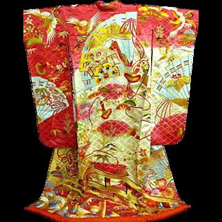Vintage Deep Pink Silk Japanese Wedding Uchikake Kimono with Multi-Colored and Gold Embroidery~Truly Amazing. c1970.