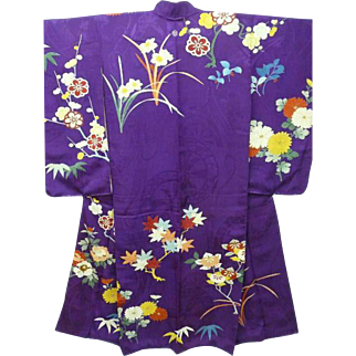 SALE: Purple Silk Furisode Kimono with Embroidered Flowers, Trees, Hand painted Gold Embellishment and Family Crest. Japanese Meiji era c1900