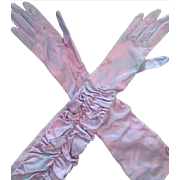 Fabulous Long Evening Gloves c1950..Shot Pink/Blue.