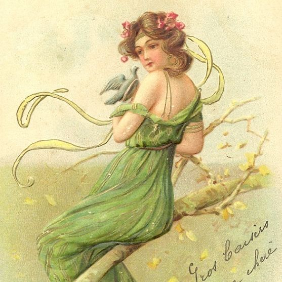 French Embossed  Art Nouveau 'Spring' Postcard Girl with Pigeon. 1905