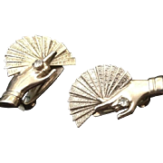 Victorian Style Hand and Fan Silver-tone clip earrings. c1970.