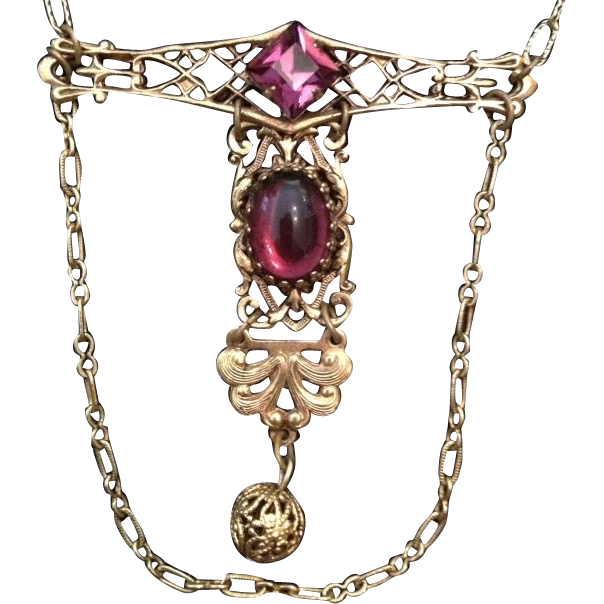 Edwardian Style Amethyst Glass Gold-tone Lavalier Necklace