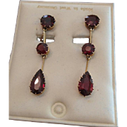 Garnet Drop Dangle Earrings c1960