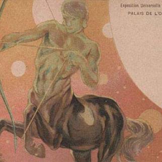 Zodiac Centaur Art Nouveau French Sagittarius Paris Expo Postcard 1900