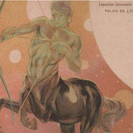 Zodiac Centaur Art Nouveau French Sagittarius Paris Expo Postcard 1900