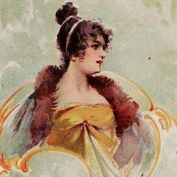 Antique Bohemian Lithographic Art Nouveau Lady Postcard