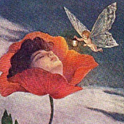 Amazing Art Deco Signed Italian Flower Girl and Fairy Postcard 1900.