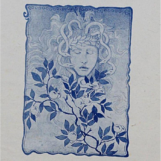 Rare Original French Art Nouveau Lithograph 'Woman with Snakes in her Hair' c1890