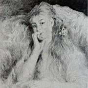 French After Renoir Etching 'La Pensee' c1904.