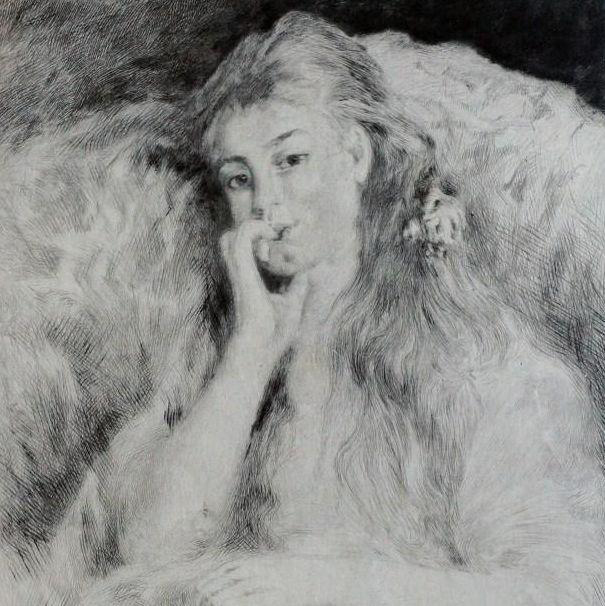 Signed Renoir French Etching 'La Pensee' 1904.