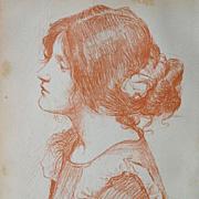 Signed Waterhouse Original Engraving from Studio Magazine Vol. 6 1896..