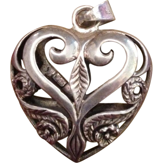 Large Sterling Silver Etched Puffy Heart Pendant.