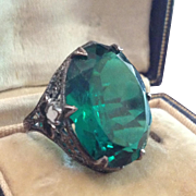 Antique Filigree Silver Metal, Enamel and Green Glass Dress Ring.