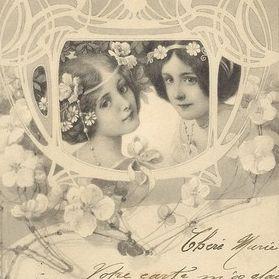 German Art Nouveau Viennoise 'Two Maidens' Postcard 1905