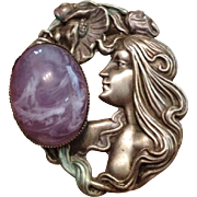 Large Faux Amethyst and Pressed Pewter Lady Face Brooch