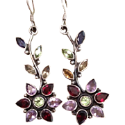 Multi Gemstone Sterling Flower Drop Earrings