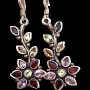 Silver Gem Stone Flower Drop Earrings