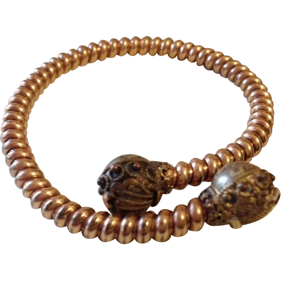 Victorian Wrap-around Etruscan Revival Bypass Bangle