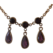 Edwardian Amethyst Drop Lavalier Necklace.