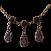 Edwardian Amethyst Drop Lavalier Necklace.