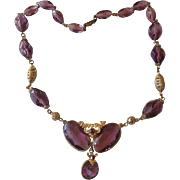 Amethyst Crystal Bead and Brass Necklace..Czech.