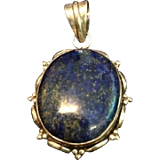 Vintage Lapis Lazuli and Sterling Silver Large Pendant.