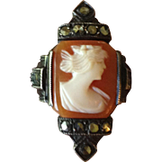 Dainty Antique Carved Shell Cameo and Marcasite Ring.