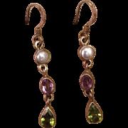 Silver Multi Gemstone Suffragette Dangle Earrings Amethyst Peridot Faux Pearl..Victorian Revival Style.