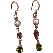 Silver Multi Gemstone Suffragette Dangle Earrings Amethyst Peridot Faux Pearl..Victorian Revival Style.