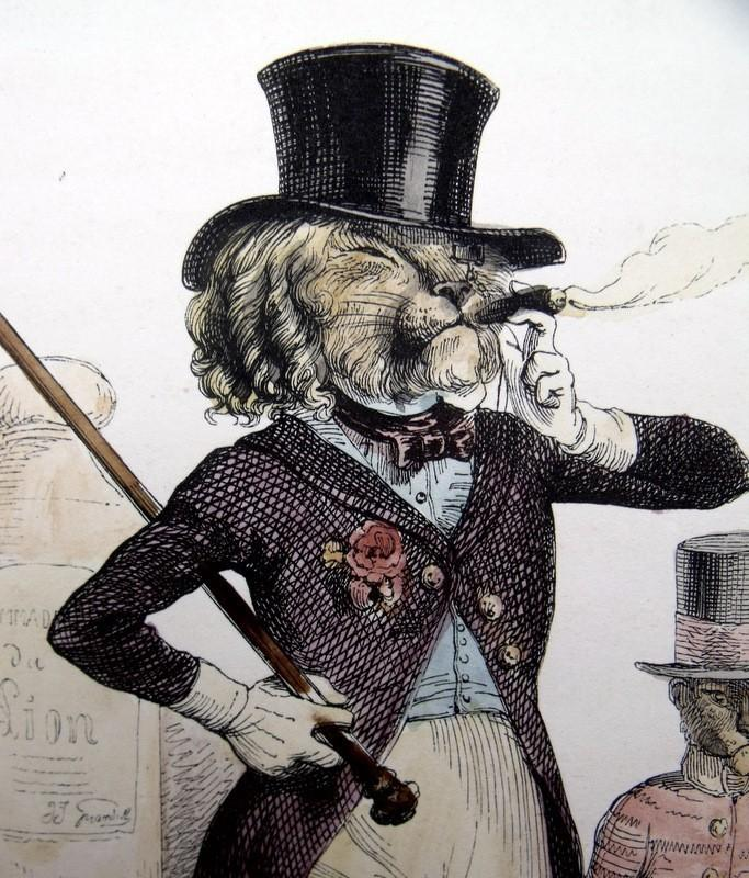 Original French Grandville Hand Colored Engraving 'Un Lion de Paris' 1842