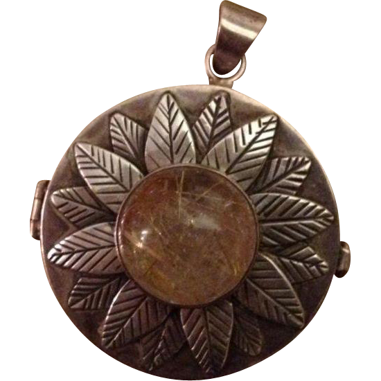 Unique Etched Sterling Silver & Quartz Keeper Pendant..One of a Kind Hand Crafted