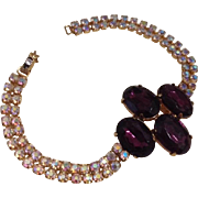 Amethyst Glass and Aurora Borealis Crystal Cocktail Bracelet