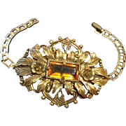 Czech Repousse and Filigree Brass and Topaz Glass Bracelet