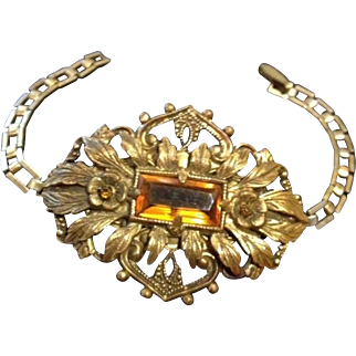 Early Czech Repousse and Filigree Brass and Topaz Glass Bracelet
