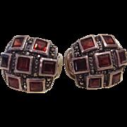 Mid Century Sterling Garnet Marcasite Clip Earrings.