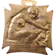 Lalique Signed French World War One Brass Orphans Medal.