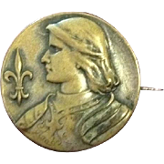 Saint Jeanne D'Arc Art Nouveau Brass Pin Brooch