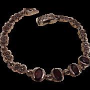 Sterling Garnet and Marcasite Vintage Bracelet c1980